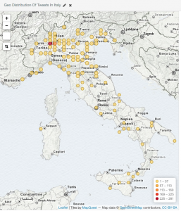 Geographic distribution of Tweets with respect to Italy